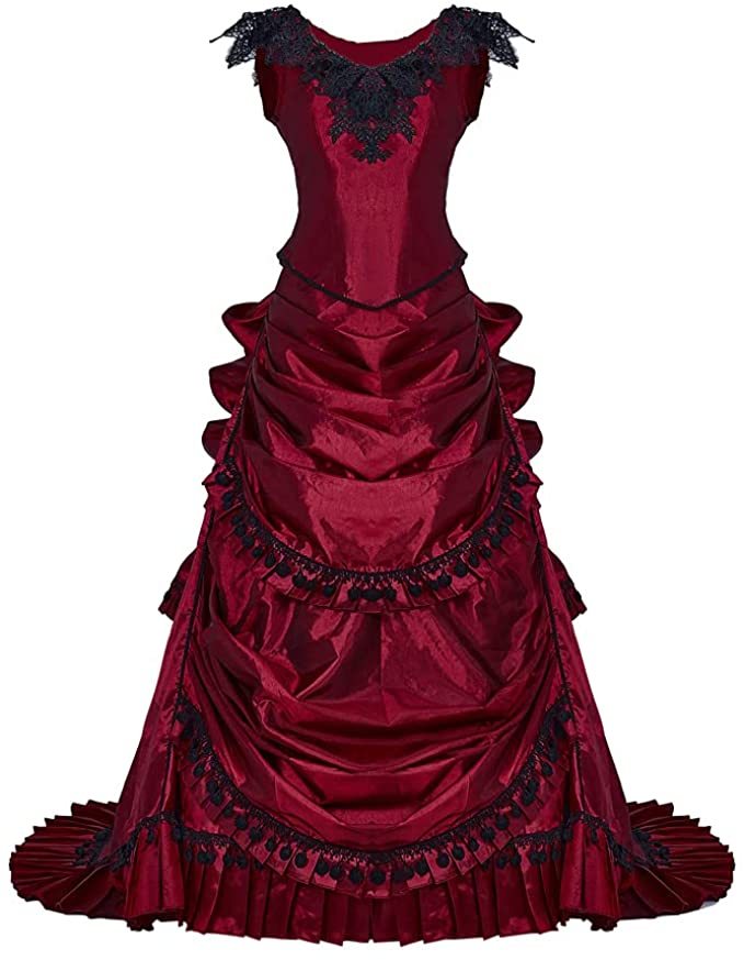 Victorian Dresses | Victorian Ballgowns | Victorian Clothing Womens Gothic Victorian Bustle Wedding Gown Renaissance Vintage Long Dress Steampunk Ball Gowns Evening Dress Costume  AT vintagedancer.com