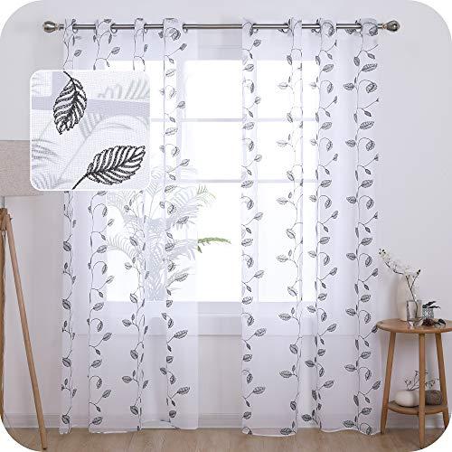 UMI. by Amazon 2 Stück Voile Gardinen Halbtransparent Voile Vorhang Blätter mit Ösen Fenster Vorhänge für Wohnzimmer 245x140 cm Grau