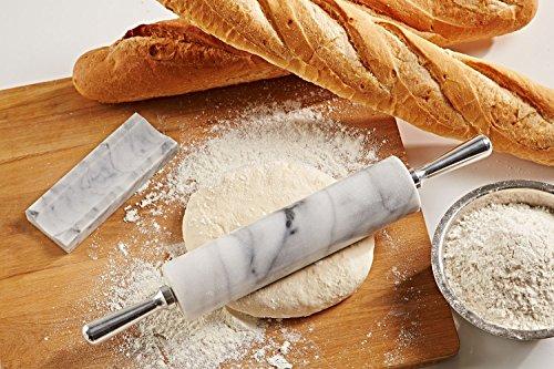 JEmarble大理石ハンドル麺棒-白/鋁柄麵棍RollingPin/AluminumHandles18inch(White)