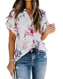 Allimy Womens Fashion 2021 Blouses Summer Short Sleeve V Neck Floral Tops Shirts White Large