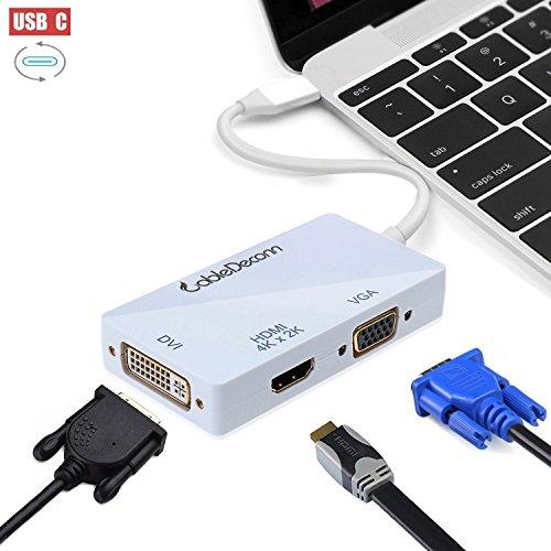 CableDeconn USB-C Adaptador Multipuerto, USB-C tipo C 3.1 (compatible con Thunderbolt 3) a HDMI DVI VGA 4K Kable adaptador Konverter para MacBook de 2017...