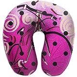 Hao-shop Almohada en Forma de U con Estampado de Bicicleta púrpura Dibujada a Mano Almohada de Cuello de Espuma para Viajar Moda de Dolor de Cuello con Material Resistente