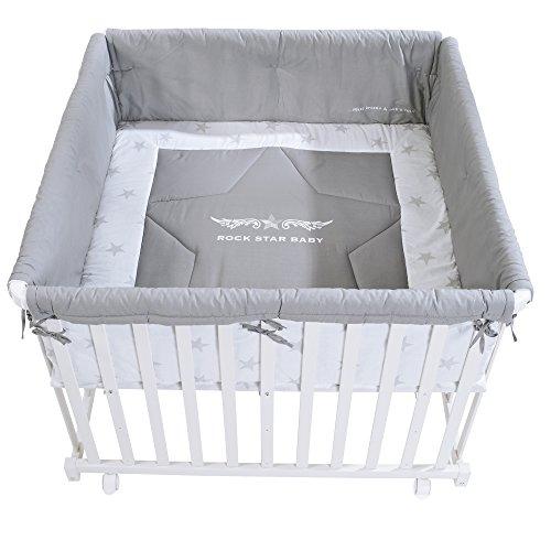 roba Laufgitter 'Rock Star Baby', Laufstall 100x100 cm, sicheres Spielgitter inkl. Schutzeinlage & Rollen, Baby Krabbelgitter, Holz weiß