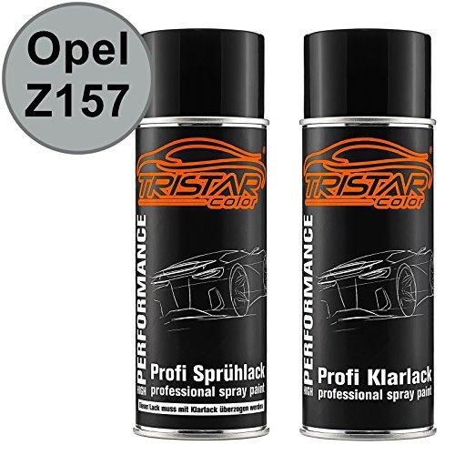 TRISTARcolor Autolack Spraydosen Set für Opel Z157 Starsilber III Metallic/Star Silver II Metallic Basislack Klarlack Sprühdose 400ml