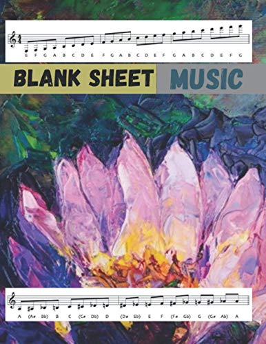 Blank Sheet Music SATB Vocal Score Music Paper Oil painting beautiful lotus flower cover, 100 pages - Large(8.5 x 11 inches)