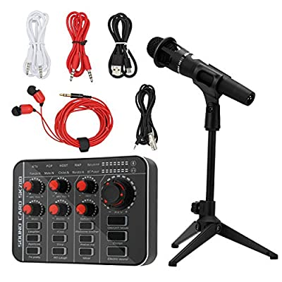 Kacsoo Live Sound Card with Effects and Voice Change Sound Card Mixer for Sub-Mixing Mini Digital Audio Mixer USB Input for Music Recording DJ Network Live Broadcast Karaoke Podcasting Live Streaming