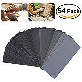 UEETEK 54pcs 60 a 3000 Grit papel de lija Sandpaper Surtido de papel de arena seca para la madera de...