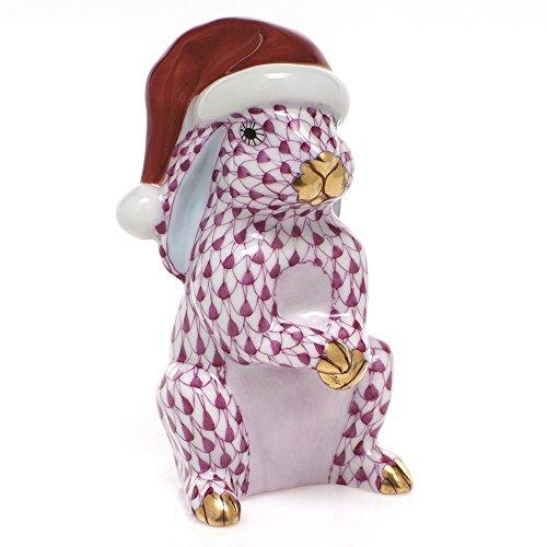 Herend Santa Bunny Rabbit Porcelain Figurine Raspberry Fishnet