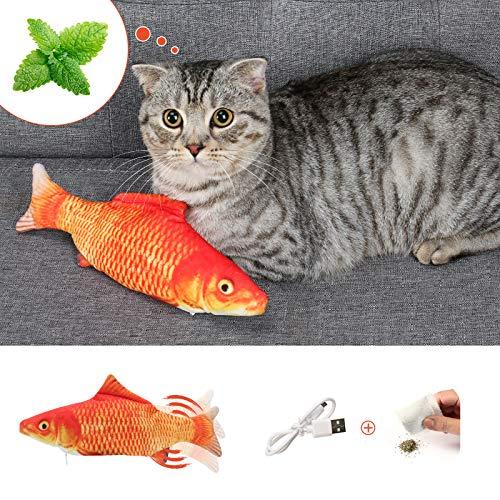 DazSpirit Katzenspielzeug Fisch, Elektrische Katze Spielzeug Fisch Katzenspielzeug Mit Katzenminze, Interaktiv Fisch Spielzeug Für Katzen, USB Aufladung, Waschbar, Für Katze Zum Spielen, Beißen Rot