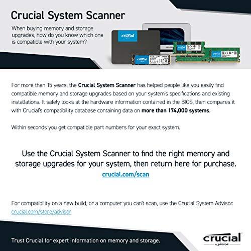 Crucial P2 CT500P2SSD8 500 GB Internal SSD, Up to 2400 MB/s (3D NAND, NVMe, PCIe, M.2), Black