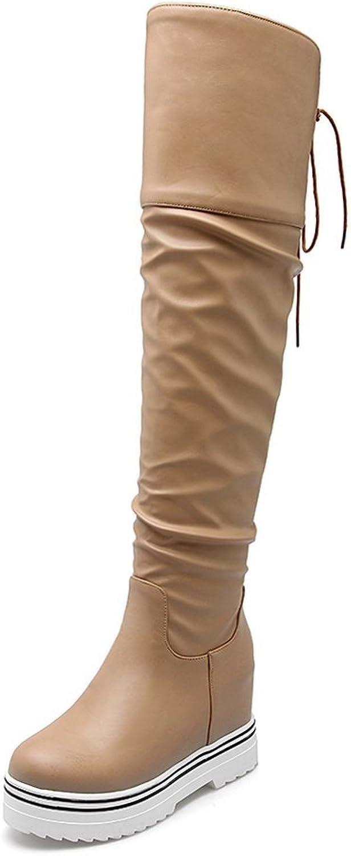 BalaMasa Womens Lace-up Platform Heighten Inside Round Toe Imitated Leather Boots