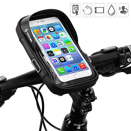 Iwinna Soporte para teléfono de Bicicleta, Bolsa Impermeable para Manillar de Bicicleta con Ventana táctil para iPhone XS MAX XR X 8 7 6 6S Plus Samsung S9 LG Sony Smartphone hasta 6 Pulgadas
