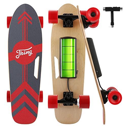 Cobizi 350W Elektro Skateboard 77cm Komplettboard Elektrische Longboard für Erwachsene und Jugendliche, mit Drahtloser Bluetooth Fernsteuerung und T-Tool, 20 km/h Max Geschwindigkeit, PU Räder (rot)