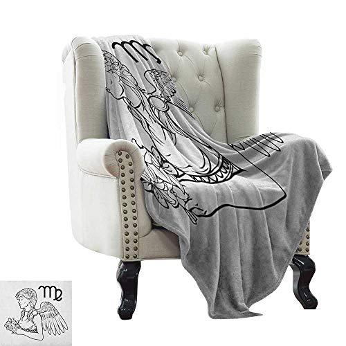 LsWOW - Manta de algodón con diseño del Zodiaco Taurus, Toro Cosido a Mano con Adornos étnicos, diseño Tribal Antiguo, marrón y Arena, cálido, hipoalergénico, Lavable, para sofá o Cama