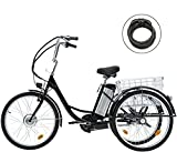 Viribus 3 Wheel Electric Bike for Adults with 250w Motor, Bike Tube, Removable 36V 10Ah Lithium Battery, Adult Tricycle with Adjustable Cruiser Bike Seat and Bike Basket, Exercise Bike