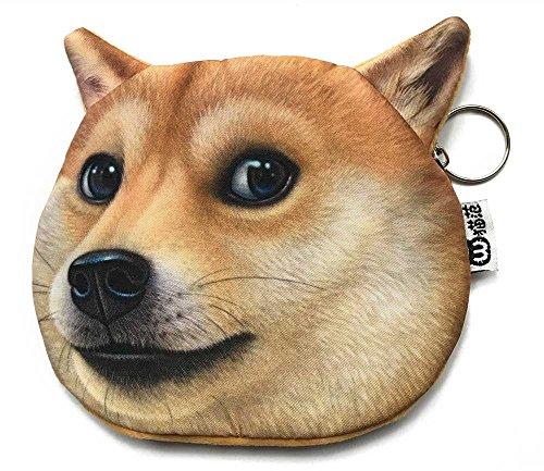 dealzEpic - Doge Meme Face Coin Purse | Cute and Creative Shiba Inu Dog Head Zipper Closure Gift Wallet