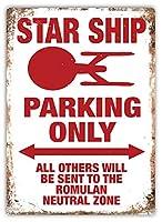 Star Ship Parking Only 注意看板メタル安全標識注意マー表示パネル金属板のブリキ看板情報サイントイレ公共場所駐車