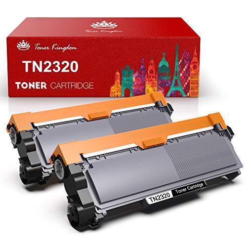 Toner Kingdom TN2320 TN-2320 Cartucho tóner Compatible Brother TN2320 2310 para Brother MFC-L2700DW MFC-L2700DN MFC-L2740DW MFC-L2720DW DCP-L2500D DCP-L2520DW HL-L2340DW HL-L2300D HL-L2365DW (2 negro) 🔥