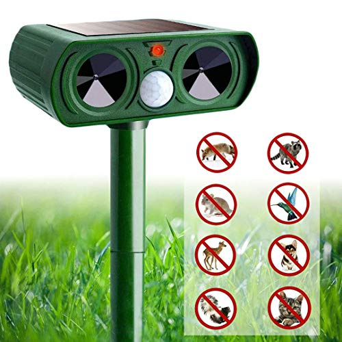IWNTWY Animal Pest Repeller Set, Outdoor Solar Powered Ultrasonic Signal Strong Flash Garden Lawn Park Protector Electronic Animal Scarer for Bird Cat Dogs Rat Snake Wild Boar Rabbit Raccoons Device