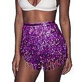 Zoestar Boho Sequin Tassel Hip Scarf Multilayer Belly Dance Belt Dance Performance Skirt for Women and Girls (Purple)