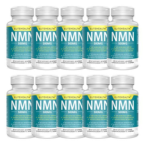PUREST NMN for NAD Support   60 Grain   500mg   Supplement for Anti-Aging & Energy Metabolism   Vegan Friendly (10 Pack)