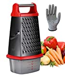 Ourokhome Stainless Steel Box Grater - 4 Side XL Cheese Grater with a Container Box and Resistant Glove (Red and Black)