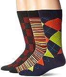 Hanes Men's 3-Pack Dress Casual Crew Flat Knit Socks, Soft Navy/Orange Argyle, Sock Size: 10-13 (Shoe Size: 6-12)