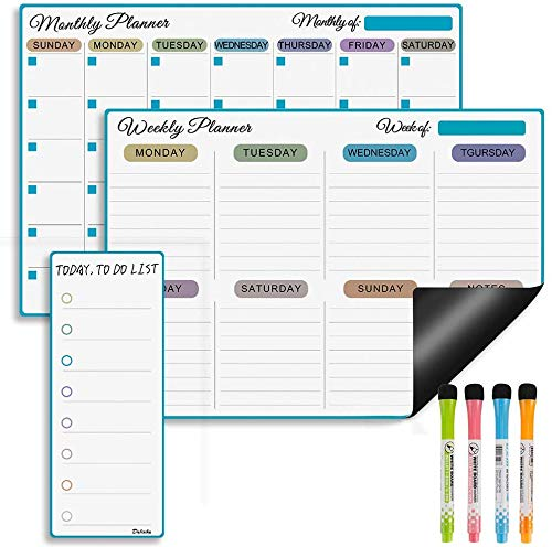 Magnetic Dry Erase Calendar Whiteboard for Fridge, Monthly Weekly and Daily Planner with 4 Colorful Markers for Refrigerator