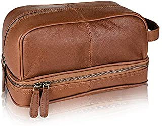 Dwellbee Classic Top Grain Leather Toiletry Bag and Dopp Kit with TSA Approved Travel Bottles and LokSak Waterproof Bag (Buffalo Leather, Brown) One Size Brown
