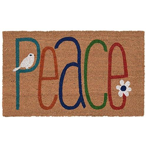"""Liora Manne Natura Peace Sign Natural Outdoor Welcome Coir Door Mat, 1'6"""" x 2'6"""""""