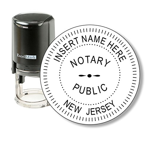 ExcelMark A-43 Self-Inking Round Rubber Notary Stamp - State of New Jersey