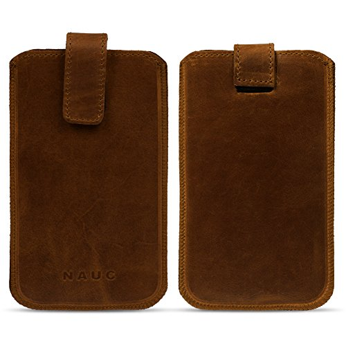 UC-Express Leder Tasche für Medion S5504 Smartphone Handy Hülle Cover Pull Tab Schutz Hülle, Farben:dunkel Braun
