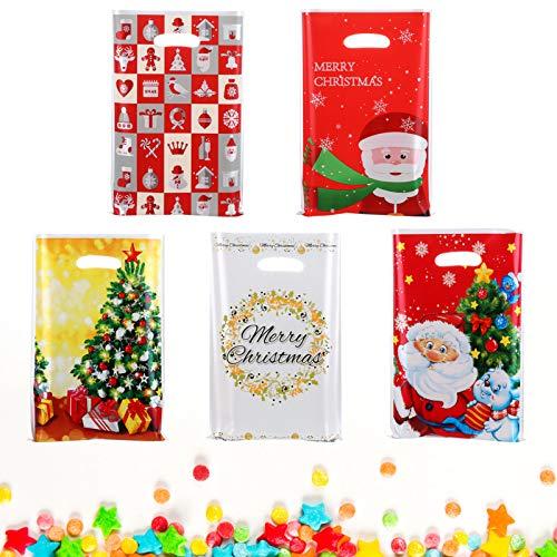 Gwhole 60 Pz Sacchetti di Natale per Cioccolatini Biscotti Caramelle, Sacchetti Regalo di Natale Babbo Natale Bustina Sacchetti Borsa per Caramelle Bustine Regalo Natale, 25 x 16,5 cm