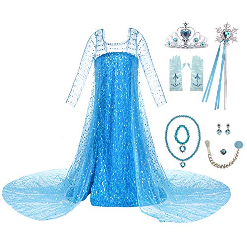 Wocau Girls Luxury Sequin Princess Party Dress Costumes with Shining Long Cap (3T, Blue with Accessories)