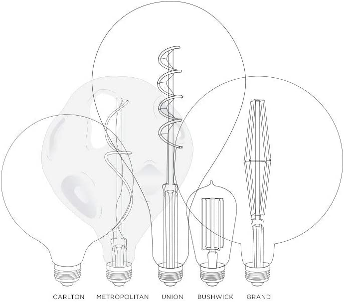 Damp Located E26 3W A52 Teardrop Shape Indoor//Outdoor Use Large Decorative LED Bulb Union Collection 12 Height - Brooklyn Bulb Co Vertical Spiral Filament Warm White Dimmable