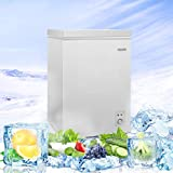 3.5 Cu. Ft Chest Freezer TECCPO, with Easy Access Defrost Drain, Removable Basket, Free-Standing Top Open Door, 5 Temperature Setting, Deep Freezer for Kitchen, Garage, Basement, Bar, White - TAFZ02