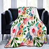 Bernice Winifred Bonito patrón Floral Lindas Flores de jardín Manta de Microfibra Ultra Suave Hecha de Franela Anti-Pilling, más cómoda y cálida.50x40