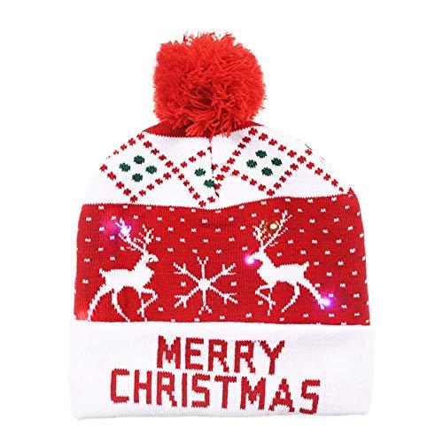 Gorro de punto de Navidad con luz LED Gorro de gorro de Navidad Novedad Unisex Sombrero de nieve de invierno