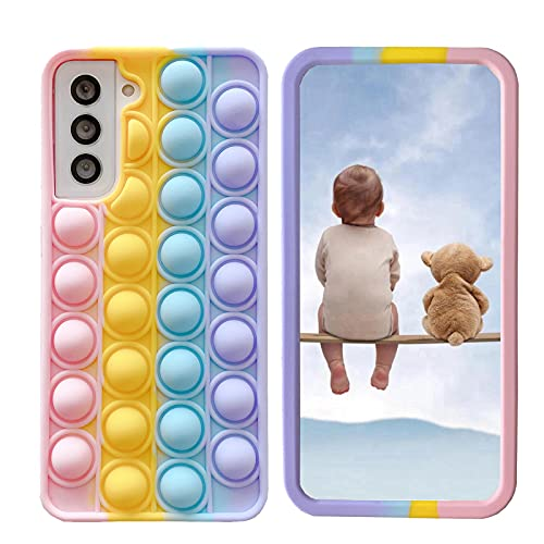 """XYOUNG Case for Vivo Y55 (5.2""""), Push Bubble Sensory Fidget Toy Case Release Stress Protection Cover with Stand, Rainbow"""