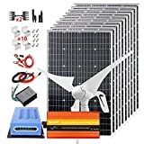 Kit de turbina de viento solar de 1400W, kit completo de 12V con...