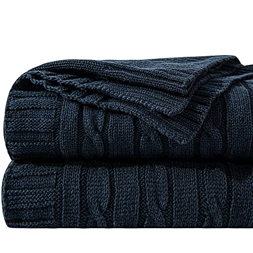 NTBAY Cotton Cable Knit Throw, Super Soft Warm Multi Color Bed Blanket,...