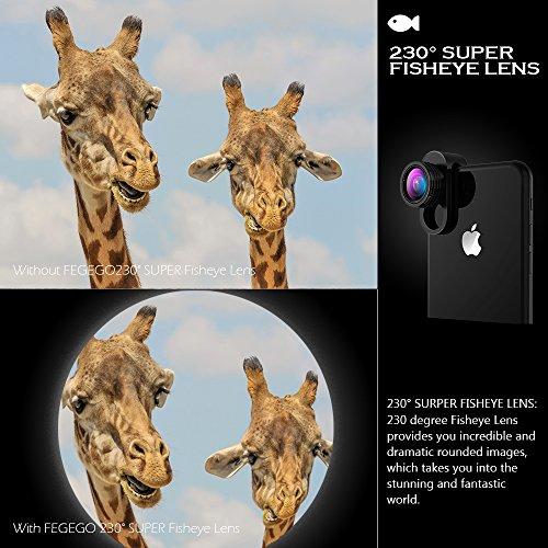 FEGEGO Phone Camera Lens Kit, 0.65X Wide Angle Lens+ 230° Fisheye Lens + 15X Macro...