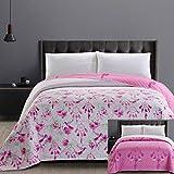 DecoKing 32749 Tagesdecke 220x240 cm Mikrofaser Bettüberwurf Steppung Blumenmuster zweiseitig leicht zu pflegen rosa weiß grün Magenta Sweet Dreams