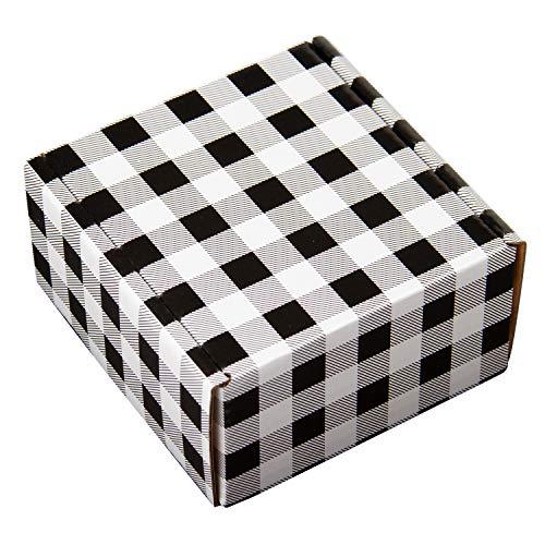 RUSPEPA Versandboxen Aus Recycelter Wellpappe - Weiße Pappschachtel Schwarzes Plaid Gedruckt Perfekt Für Den Versand Klein - 10 X 10 X 5 CM - 25Er Pack