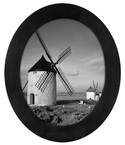 Malden International Designs Classic Oval Black Wood Picture Frame, 8x10, Black