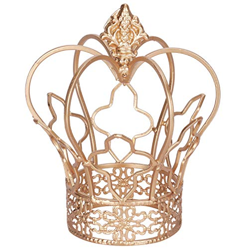Yamfurvo Royal Metal Desktop Crown Decor, Decorative Centerpiece Crown Sculpture for Wedding, Christmas,Party Table, Baby Shower, Antique Home Decor, Gold