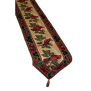 Violet Linen 装飾クリスマスタペストリー テーブルランナー 13インチ x 70インチ カーディナルデザイン