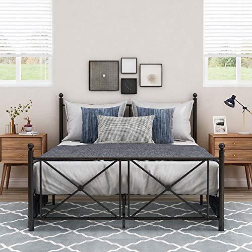 Metallbett mit Kopf- und Fußteil, Bett für Schlafzimmer der Kinder, Jugendliche, Erwachsene, Gästebett, Schwarz