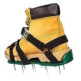KUANDARGG Aireador de Césped Zapatos Sandalias de Pinchos de Metal Zapatos con 6 Correas Ajustables y Metal, tamaño Universal para Zapatos o Botas, Black