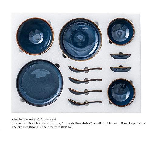 Zwart dinerbord, heeft een eenvoudige moderne Scandinavische stijl, keramisch servies, schaal, bord, geschenkdoos set, blauw met de hand beschilderd keramisch servieset, steengoed plaat ivoor conventional Kiln Change Serie